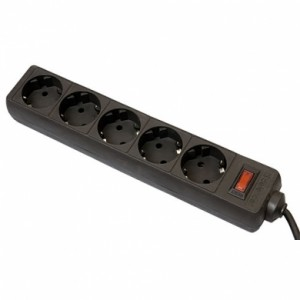 Сетевой фильтр Defender ES, 1.8м, 5 розеток, черный